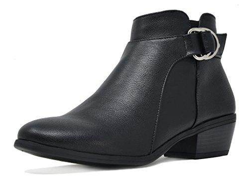 TOETOS Women's Boston-03 Black Pu Block Heel Side Zipper Ankle Booties Size 10 M US