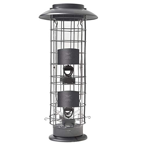 (More Birds 106IN, 1.5 Pounds Seed Capacity, Black, X-4 X Squirrel Proof Feeder, Four Feeding Stations, 1.5 Poun, 1.5 lb, Gray )