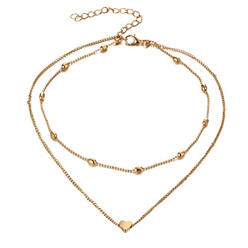ywbtuechars Fashion Multilayer Beads Heart Charm Choker Necklace Chain Women Party Jewelry - Golden ()