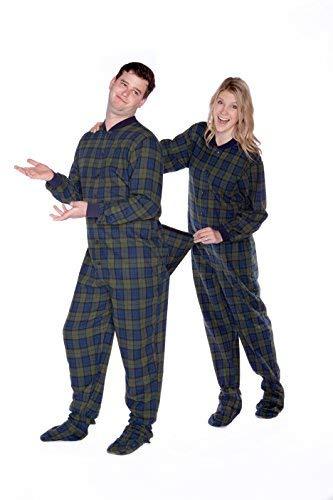 Navy Blue & Green Plaid Flannel Footed Pajamas Mens Adult Drop Seat Onesie