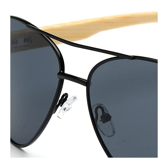 VeBrellen Bamboo Wood Arms Classic Mirrored Sunglasses For Men & Women 6 1.Materials——AC lens & Bamboo Temple. 2.Bamboo Temple——Only eco-friendly and recycled wood used. No harm is done to the environment, feel good about yourself! 3.Flexible Alloy Frame. The More Flexible the More Comfortable. No Worry About Glasses Falling Down. Half frame, special and vintage design.