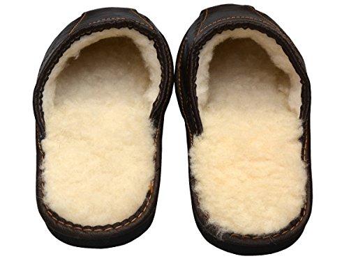 Pantofole In Pelle Da Uomo Bawal Pantofole Calde Fodera Lana Di Pecora Marrone Xh03 (40 + Scatola)