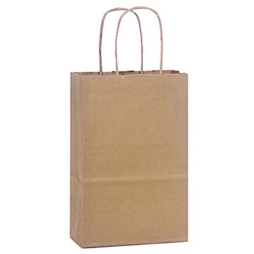 Natural Kraft Shopping Bags - Rose Sized - 5.25x3.5x8.25in. - 200 Pack by NW