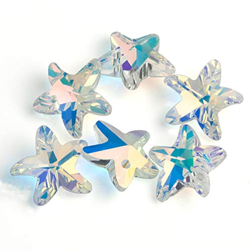 Crystal Glass Charms - 28 Pcs Charms Crystal AB Glass Loose Beads 14mm Crystal Gemstone for Jewelry Making Decorations (14mm Starfish)