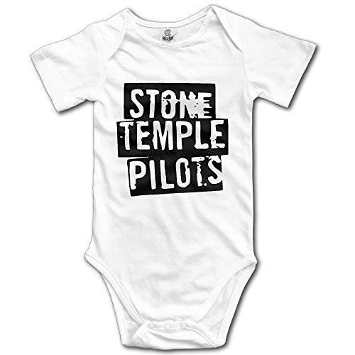 HYRONE Stone Temple Logo Pilots Baby Bodysuit Long Sleeve Climbing Clothes Size 6 M White