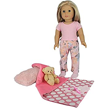 """PZAS Toys 18 Inch Doll Clothes - Pajamas and Teddy Bear Set with Accessories - fits 18"""" Dolls"""