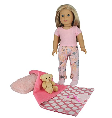 "PZAS Toys 18 Inch Doll Clothes - Doll Bed Time Set Includes Pajamas, Blanket, Teddy Bear, Toothbrush, Toothpaste, and 18"" Doll Underwear. Compatible with American Girl Doll Clothes from PZAS Toys"
