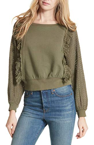 - Free People Women's Faff Fringe Sweater (Army, Medium)