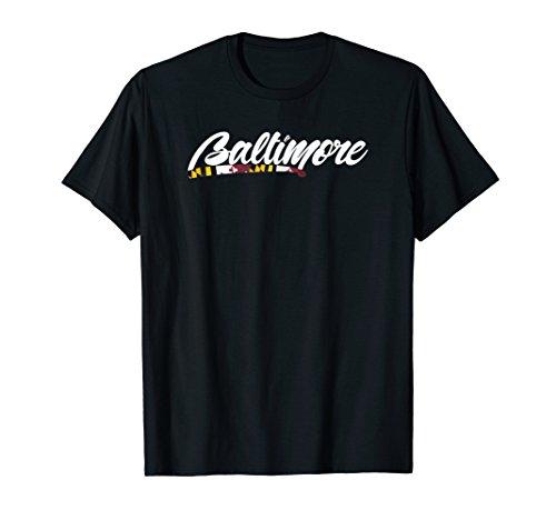 Baltimore T-shirt With Flag (Baltimore Flag T-shirt)