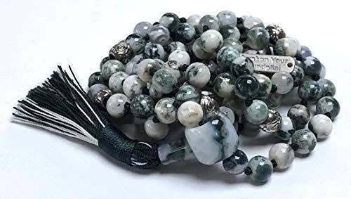 - Certified Energized Mala Beads Necklace with COA - Chakra Mala - Japa Mala - 8mm 108 Buddhist Prayer Beads - Meditation Mala - Tassel Necklace - Zodiac/Sun Sign Stones (Green Tree Agate)