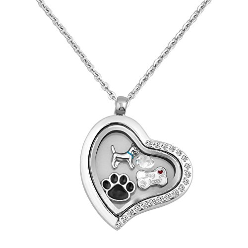 - LuckyJewelry Puppy Dog Paw Print Heart Living Floating Charm Memory Locket Pendant Necklace With 18 Chain