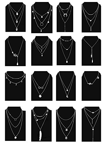 (Ofeiyaa 6/12/16pcs Chain Gold Bead Necklace Coin Moon Star Pearl Pendant Chain Choker Multilayer Necklace Leather Cord Set for Women Girls Adjustable Gold Tone (XL02-S16))