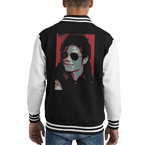 Michael Jackson Portrait 1990 Classic Aviator Sunglasses Kid's Varsity Jacket ()