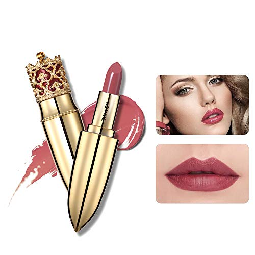 MEIQING Women Lipstick Waterproof Bold Vivid Pink Lipgloss Nude Lipstick Lip Kit Halloween Christmas Makeup Crown Design