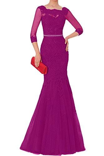 Abendkleider Langarm Elegant Lang Tuell Brautmutterkleider Neu Ivydressing Damen Spitze 2018 Fuchsia Promkleider wqZzB7Ox