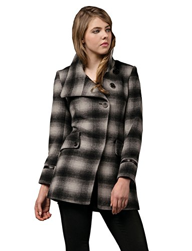 AC1204-Plaid-Zareen Women's Wool Blend Coat with Three Button Style (S)