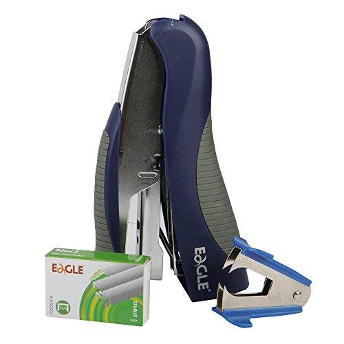 Eagle Stand-up Stapler,Value Pack,Includes Stapler,Staple Remover,and 1000 Staples,Full Stripv,20 Sheet Capacity (Blue)