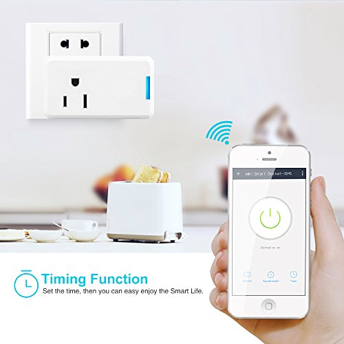 DEPSTECH WiFi Smart Plug,2 Pack Mini Wireless Smart Outlet US Socket with  Timing Function,No Hub Required, Control your Equipment Anywhere, Work with