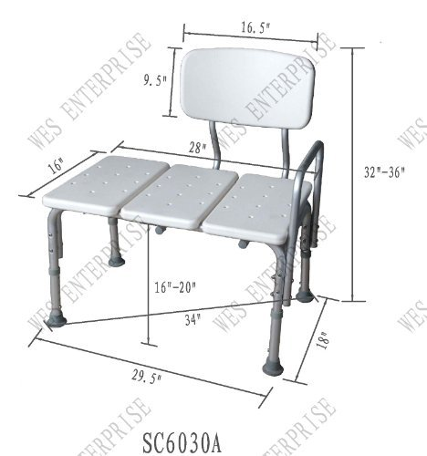 Transfer Bath Bench (Easy to assemble, No tools needed, New improved model)