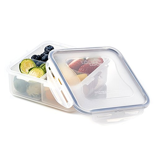 (LOCK & LOCK Airtight Square Food Storage Container with Removable Divider 29.41-oz / 3.68-cup)