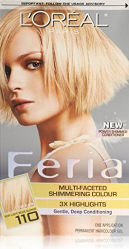 Faceted Shimmering Colour, Level 3 Permanent, Very Light  Blonde 110 (Loreal Feria Colour)