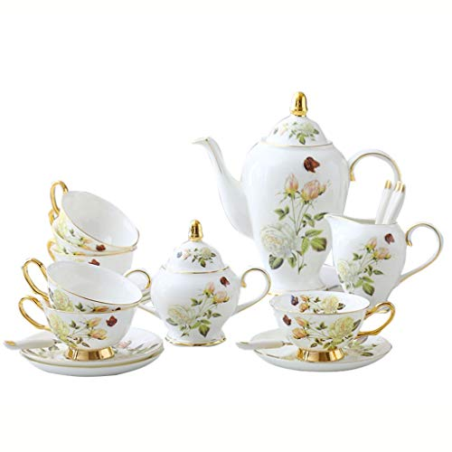 White Rose English Afternoon Tea Cup Set Continental Bone China Coffee Cup Set Tea Set Teapot, Teacup, Sugar Bowl, Milk Can Gift Blue Gold Royal Palace Wind (Color : White)
