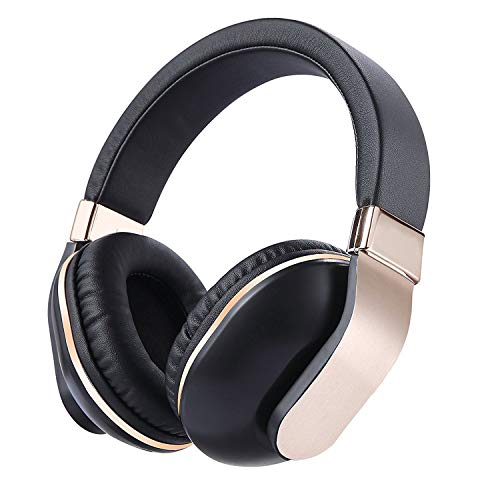 - JBUNION Bluetooth Headphones Over Ear with Mic, Stereo Folding Wireless Headset, Wired and Wireless Headphones with Big Noise Isolation Memory-Protein Earmuffs for Cell Phone/TV/PC(770 Gold)