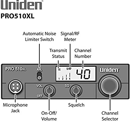 Uniden PRO510XL Pro Series 40-Channel CB Radio  Compact Design  Backlit LCD  Display  Public Address  ANL Switch and 7 Watts of Audio Output  Unique