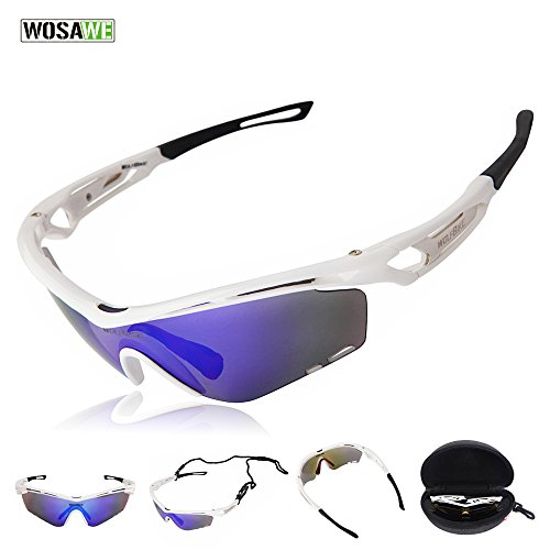WOLFBIKE Outdoor Sports Cycling Sunglasses with 3 Set Interchangeable Lenses, White - Sunglasses For Bike Riding