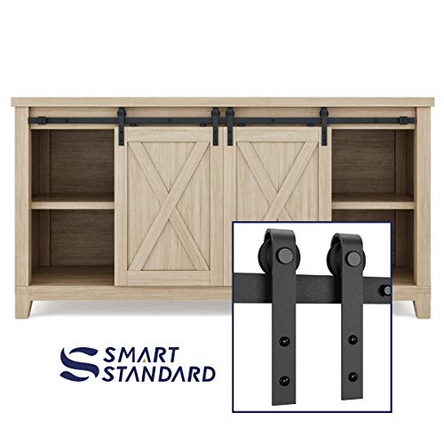 "SMARTSTANDARD 5FT Super Mini Sliding Barn Door Hardware Track Kit - Smoothly and Quietly -for Double Opening Cabinet, TV Stand, Closet - Fit 15"" Wide Door Panel - J Shape Hanger (NO Cabinet)"