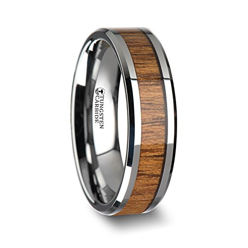 TEKKU Wood Tungsten Ring with Polished Bevels and Teak Wood Inlay - 6 mm