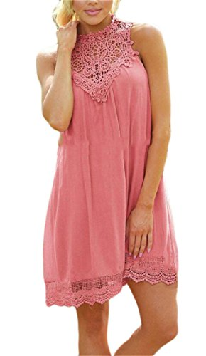 Domple Collar Mini Lace Classic Pink Patchwork Womens Sleeveless Stand Dress wr4cnwOAq