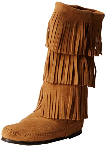 Minnetonka Women's Calf Hi 3-Layer Fringe Boot Taupe Suede 7 M