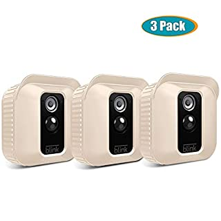 Fintie Silicone Skin for Blink XT2/XT Camera - [3 Pack] Premium Silicone UV Weather Resistant Protective and Camouflaged Case Cover for Blink XT2 & XT Home Security Indoor Outdoor Camera - Beige