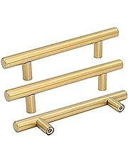 goldenwarm Brushed Brass Drawer Pulls Kitchen Cabinet Door Handle Modern Square Kitchen Cupboard Drawer Knobs Gold Drawer Pulls Square Bar Pulls Gold Dresser Hardware for Drawers
