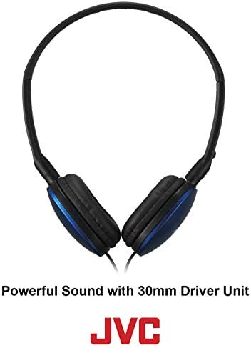 JVC Blue Flat and Foldable Colorful Flats On Ear Headphone with 3.94 foot Gold Plated Phone Slim Plug HAS160A
