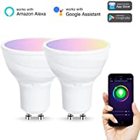 LOHAS WiFi GU10 Smart Glühbirnen, Arbeitet mit Alexa und Google Home, 5W=50W Halogenlampen, RGB+Warmweiss, gesteuert von Smart Devices, kein Hub erforderlich, 2er-Pack