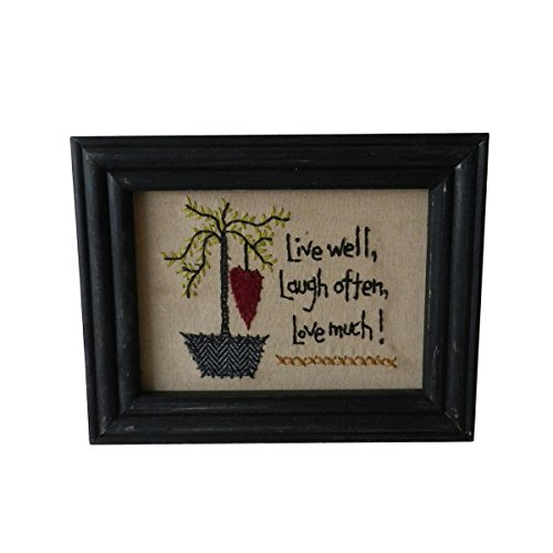 (CVHOMEDECO. Primitives Vintage Live Well, Laugh Often, Love Much! Stitchery Frame Wall Hanging Decoration Art, 8-3/4