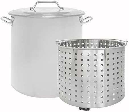 CONCORD Stainless Steel Stock Pot w Steamer Basket. Cookware great for boiling and steaming 120 Quart