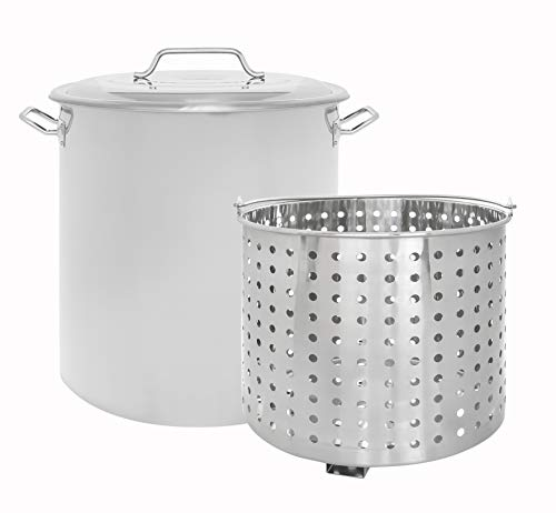 (CONCORD Stainless Steel Stock Pot w/Steamer Basket. Cookware great for boiling and steaming (40 Quart))
