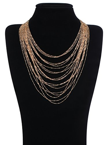 BABEYOND Women's Brass Luxury Waterfall Multi Strand Multilayer Chain Necklace Fashion (Multi Strand Waterfall Necklace)