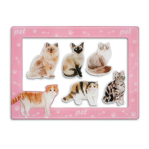 Morcart Cat Magnets And 4x6 Inches Magnetic Photo Frame 6 Pcak Ragdoll Cat Fridge Magnets Set Decoration for Fridge Home classroom Office,Best Gift Choice