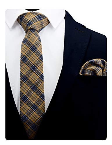 (GUSLESON Cotton Plaid Striped Tie Skinny Slim Cashmere Wool Gold Blue Neckties and Pocket Square Sets (0792-18))