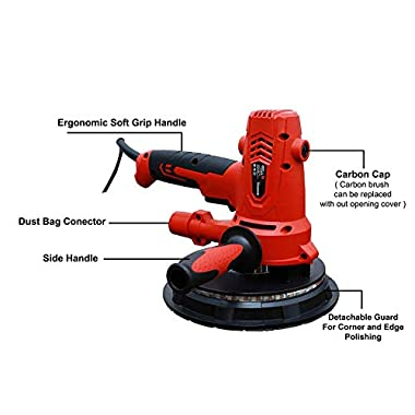 iBELL Dry Wall Sander DS80-70, 180MM, 800W, 1200-2300rpm with Vacuum and LED Light 14