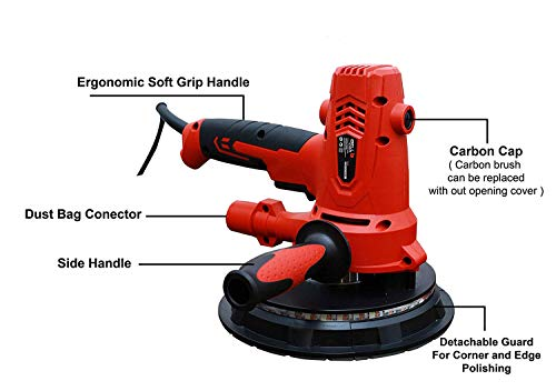 iBELL Dry Wall Sander DS80-70, 180MM, 800W, 1200-2300rpm with Vacuum and LED Light 7