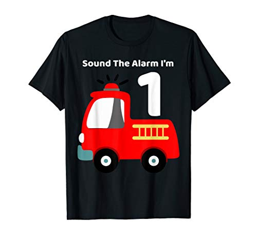 Fire Fighter Truck 1 Year Old Birthday Shirt   1st Bday ()