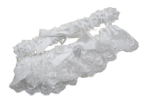 White Wedding Garter Set Garters with Bow Tie CZ Charm One Size Fits All Lace Rustic Classic