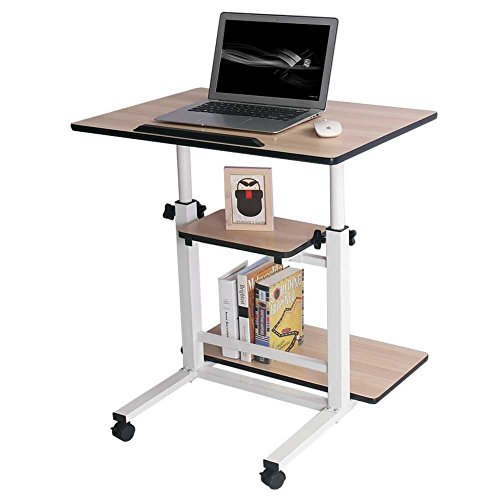 c2183e827e9c Rolling Laptop Table Adjustable Computer Stand Table Workstation ...