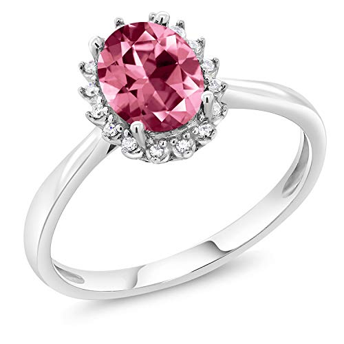 - 10K White Gold Diamond Ring Set with Oval Pink Topaz from Swarovski (Size 5)