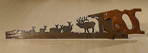 Metal Art Elk Herd Hand (Plasma) cut Hand Saw | Wall Decor | Garden Art | Recycled Art | Repurposed - Made to Order for the Nature Lover